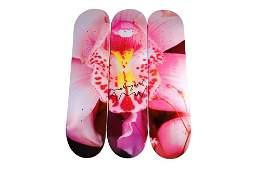 Nobuyoshi Araki Orchid Triptych Signed Skateboard Decks