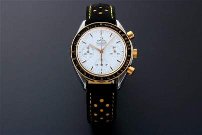 Omega Speedmaster Yellow Gold & Steel Watch White Dial