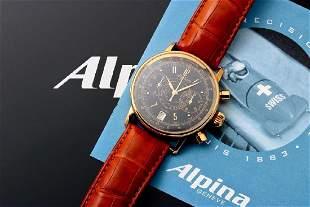 18k Yellow Gold Alpina Pilot Chronograph Watch Limited
