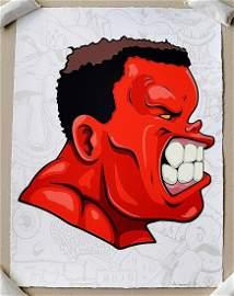 Hebru Brantley False Alarm Hulk Red Screen Print LTD ED