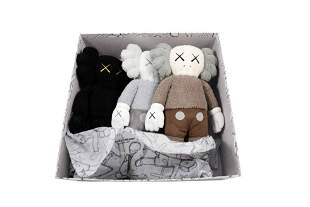 KAWS Holiday Hong Kong Full Plush Set Brown Black Grey