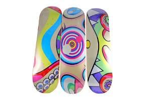 Takashi Murakami Triptych DOB Skateboard Decks