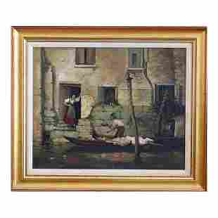 Gruppe Gondola Canal Water Scene Oil Painting on Canvas