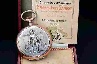 Sandoz Jaeger Le Coultre Swiss Award Relief Pocketwatch