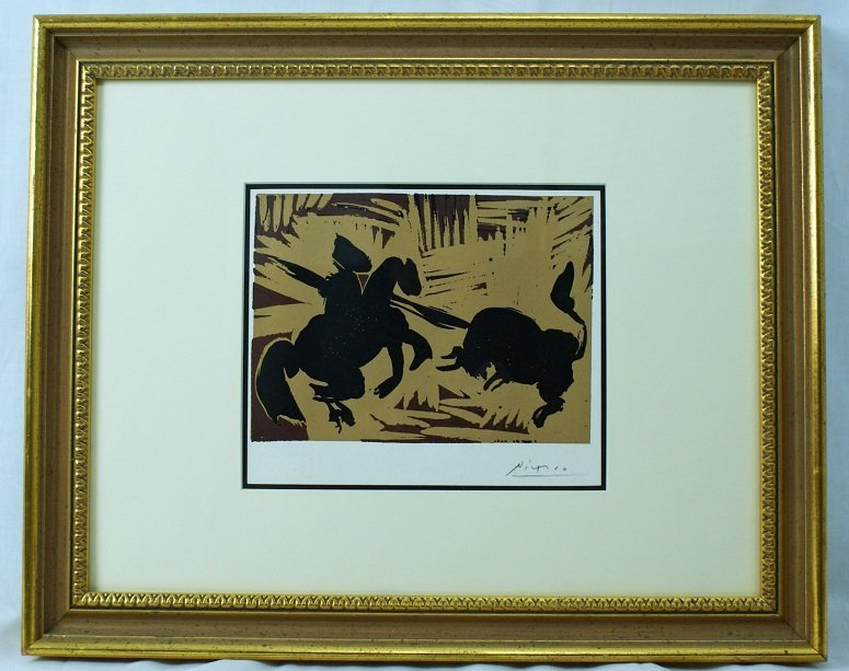 "16: Pablo Picasso ""The Goading of the Bull"" Linocut"