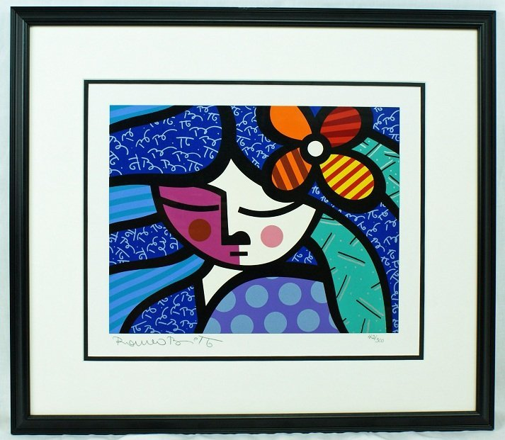 "18: Romero Britto ""Girl with Flower"" Serigraph Hand Sig"