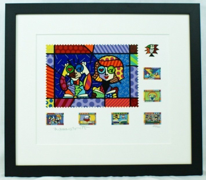 "19: Romero Britto ""Educating the World"" Serigraph Hand"