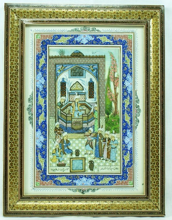 21: Ornate Persian Painting on Ivory or Bone