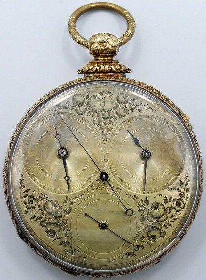 18k Yellow Gold M.I. Tobias Pocket Watch, Dual Time