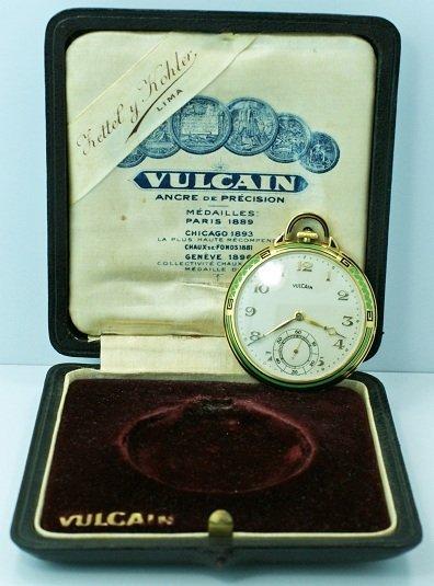 1: 18K Yellow Gold Enamel Vulcain Pocket Watch with Box