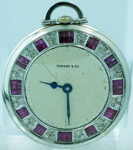 8: Tiffany & Co Rubies and Diamonds Swiss Pocket Watch