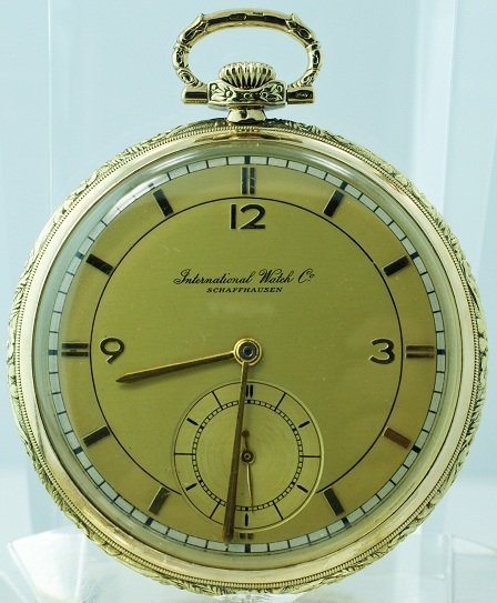 12: 14K Yellow Gold IWC with Ornate Case and Fancy Dial