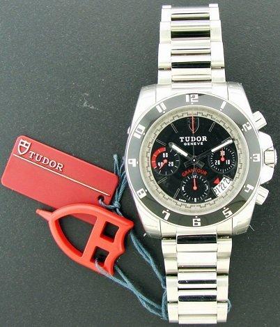 12A: Stainless Steel Tudor Gantour Chronograph Watch