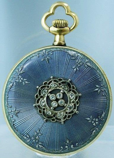 13: 18k Yellow Gold Enamel Diamond French Pendant Pocke