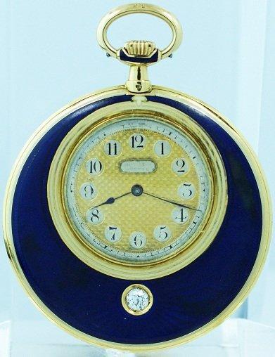 14: Fine Rare 18K Yellow Gold Blue Enamel Movado Pocket