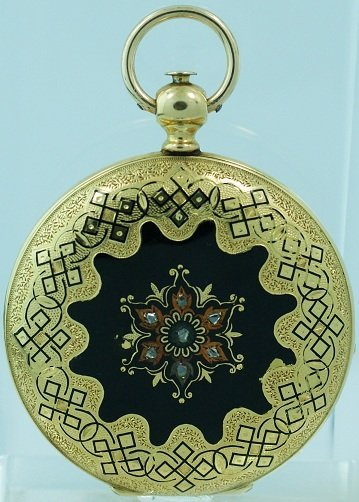 17: 18k Yellow Gold Hunter Case Tissot Enamel Diamond P
