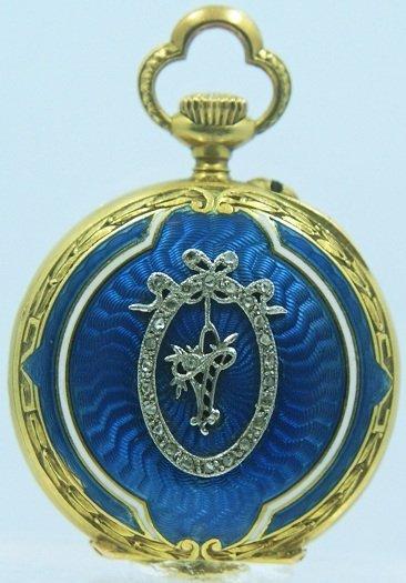 18: Antique Blue Enamel Pocket Watch with Diamonds