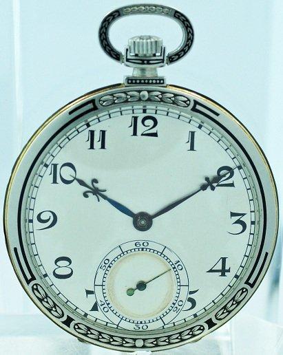 21: Movado Enamel Open Face Pocket Watch