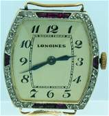 32: 18k Yellow Gold Longines Watch with Diamonds and Ru