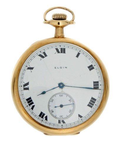 9: Vintage 14k Yellow Gold Elgin Pocket Watch