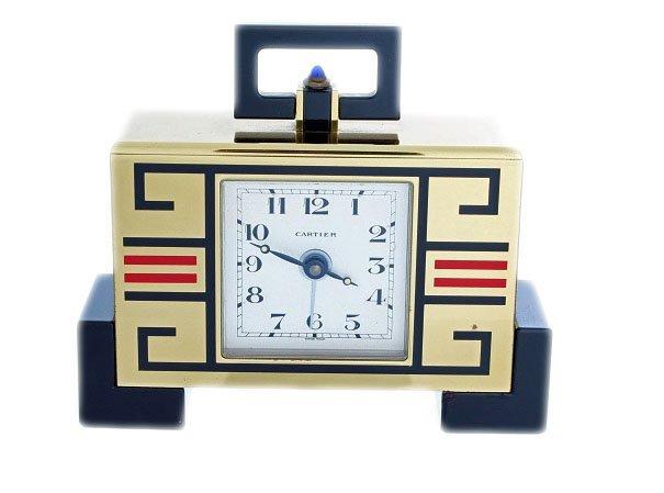 12: Enamel Cartier Deco Chinoise Alarm Desk Clock with