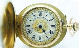 87 18k Yellow Gold Paul Jeannot Enamel Diamond Hunter