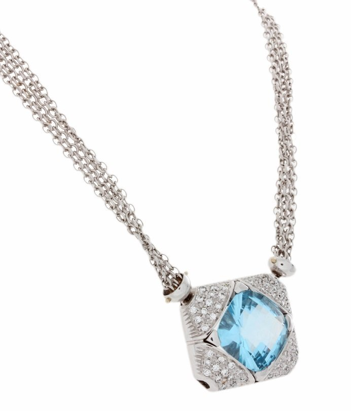 18k White Gold Mattia Diamond and Topaz Necklace