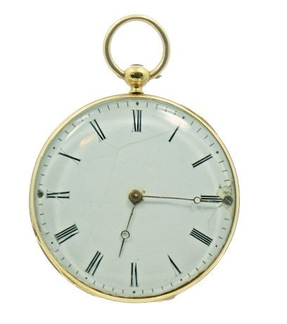 Vintage Yellow Gold French Open Face Pocket Watch