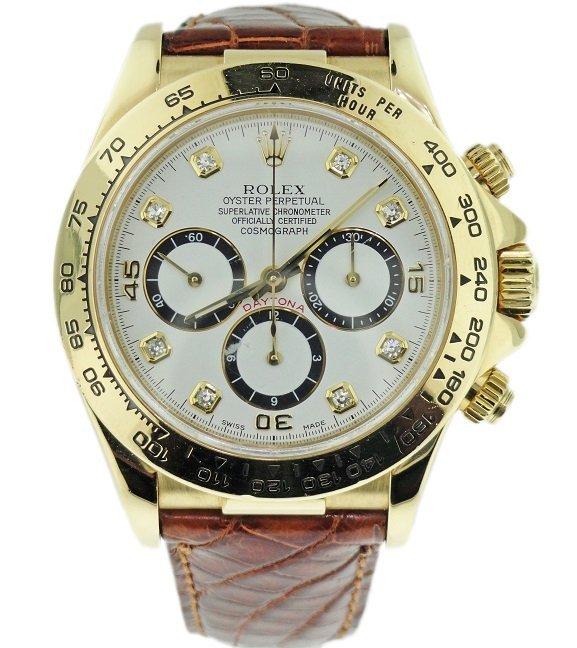 18k Yellow Gold Rolex Daytona White Diamond Dial 16518