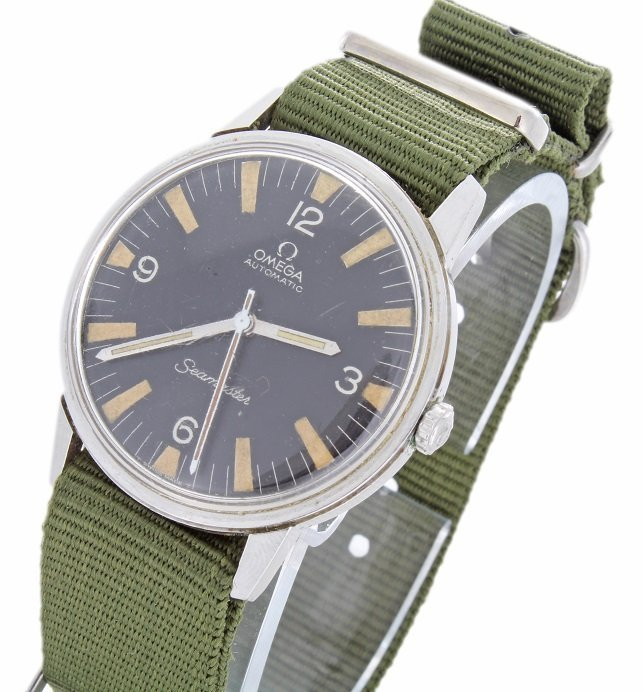Stainless Steel Omega Seamaster Military Dial Watch