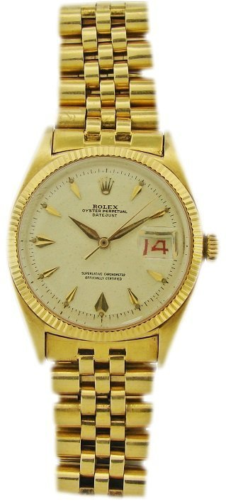 Vintage 18k Yellow Gold Rolex Oyster Perpetual Datejust