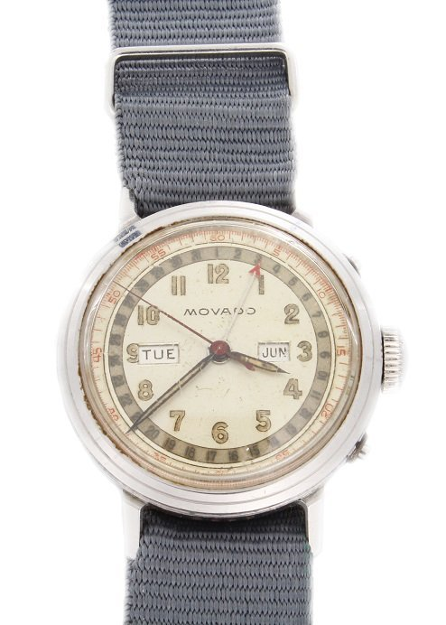 Stainless Steel Triple Calendar Movado Wristwatch