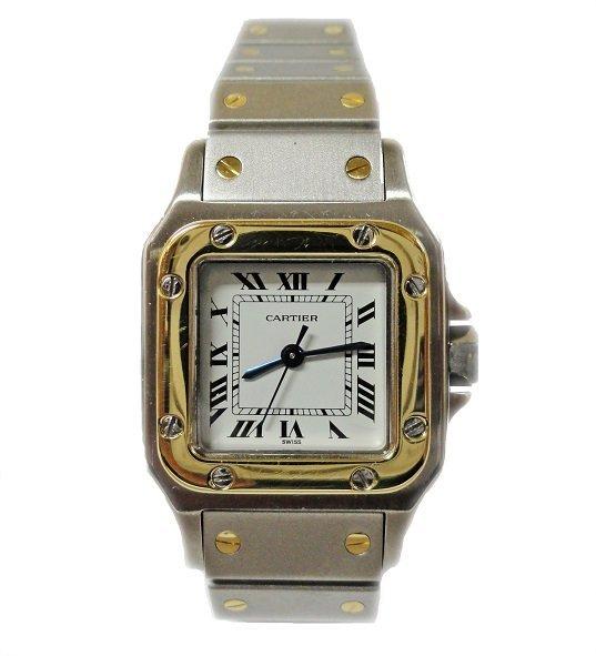 Tutone Ladies Cartier Santos Galbee Watch