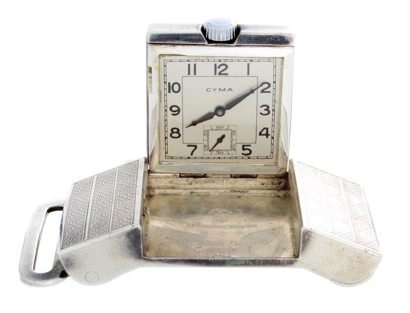 Sterling Silver Cyma Brevet Belt Buckle Travel Watch