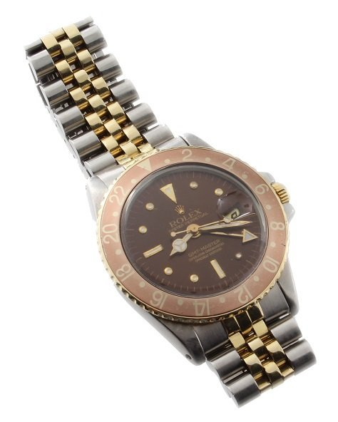 Steel and Gold Rolex GMT Master Nipple Dial Watch 1675