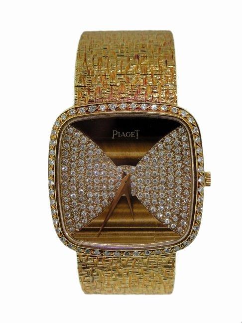 18k Yellow Gold Piaget Diamond and Tiger Eye Watch