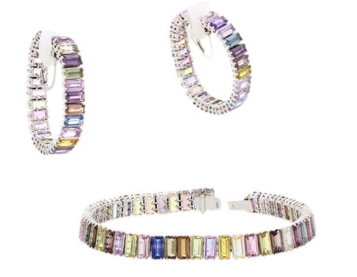 18k White Gold Multicolored Sapphire Bracelet &