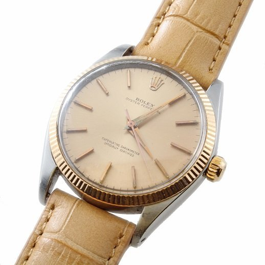 Gents Steel and Pink Gold Rolex Oyster Perpetual Watch