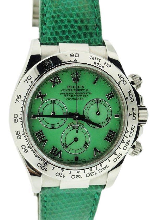 18k White Gold Rolex Daytona Green Beach Watch