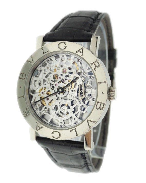 Gents 18k White Gold Bvlgari Skeleton Watch