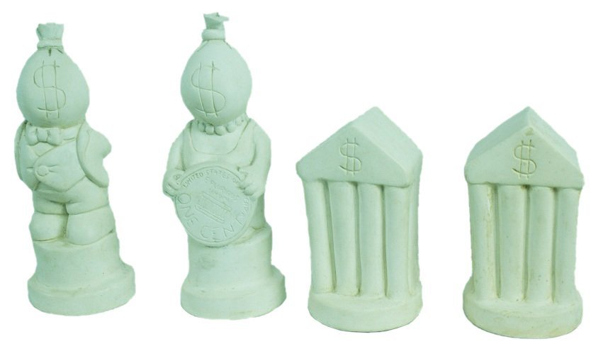 Tom Otterness King Queen and 2 Rooks Chess Sculptures