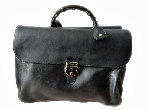 Large Gucci Leather Briefcase with Bamboo Handle with