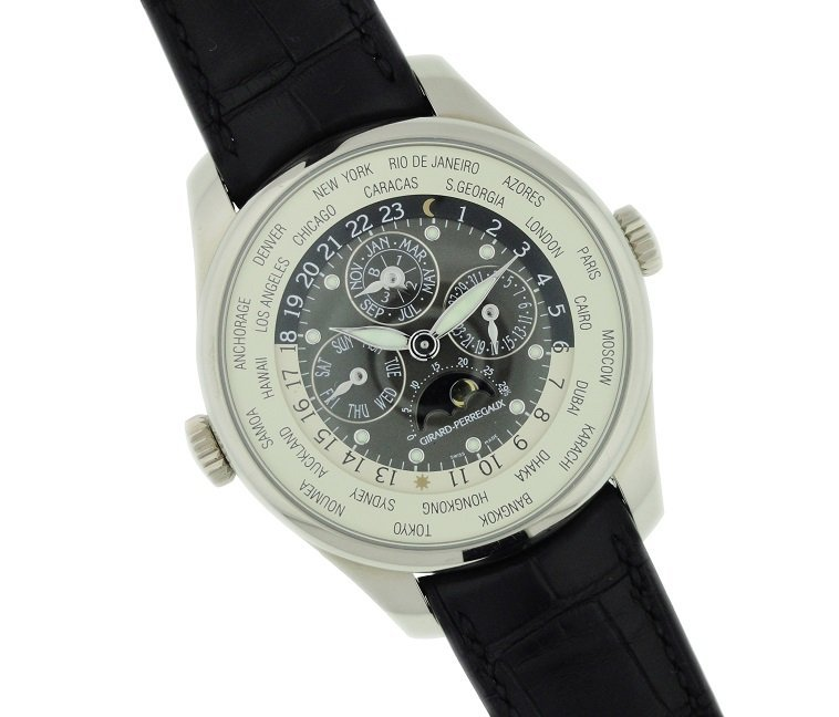 18k White Gold Girard Perregaux World Time Watch