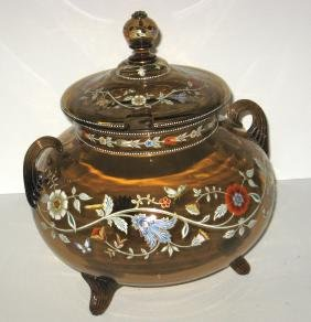 Large Moser covered punch bowl,