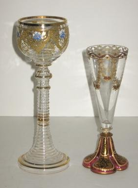 Two Moser decorated glass goblets,