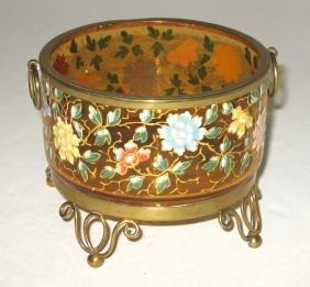 Moser glass and metal dish,