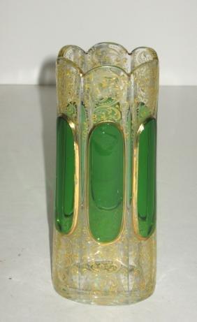 Moser enameled glass vase,
