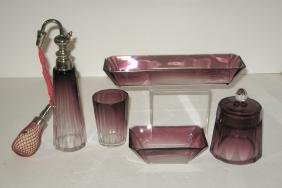 Moser 5 piece glass dresser set,