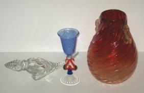 Three piece grouping of Venetian glass