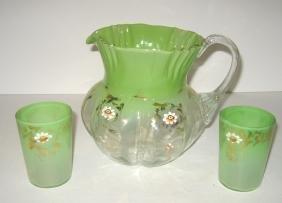 Victorian glass water set,